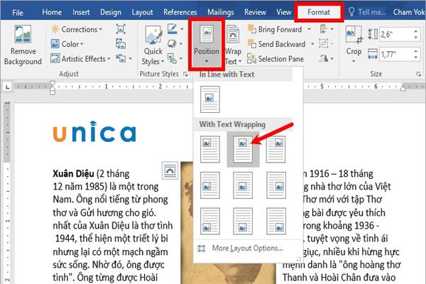 3 Cách di chuyển hình ảnh trong Word