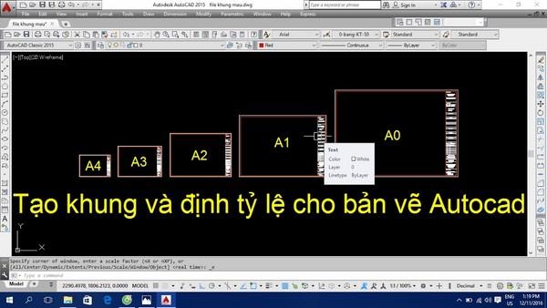Cách thiết lập và định dạng cho khung bản vẽ Cad