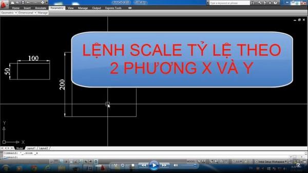 Lệnh scale theo 2 phương trong Autocad theo trục X và Y