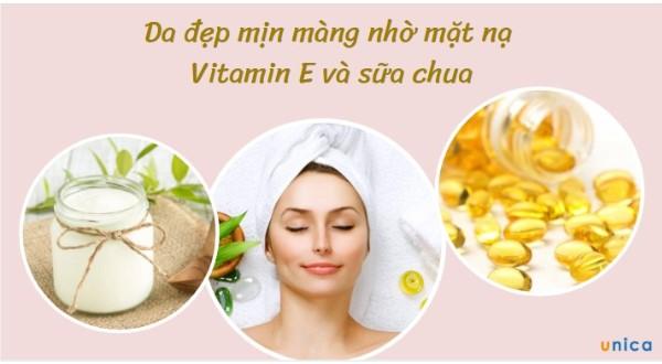Da đẹp mịn màng nhờ mặt nạ Vitamin E và sữa chua